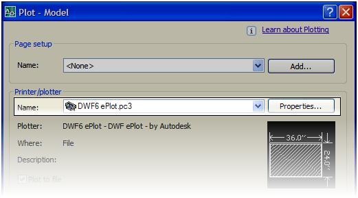 Choosing DWF Plotter from Plot Dialog