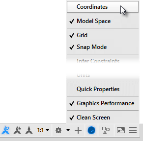 Where did the Coordinate readout in the AutoCAD status bar go? Customize Menu